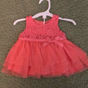 Coral Lace Dress with bloomers.